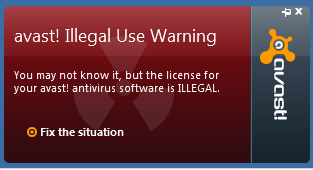 avast! Illegal Use Warning