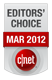 Onderscheiding van CNET Editors' Choice voor de maand maart 2012