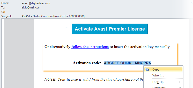 activation code for avast premier