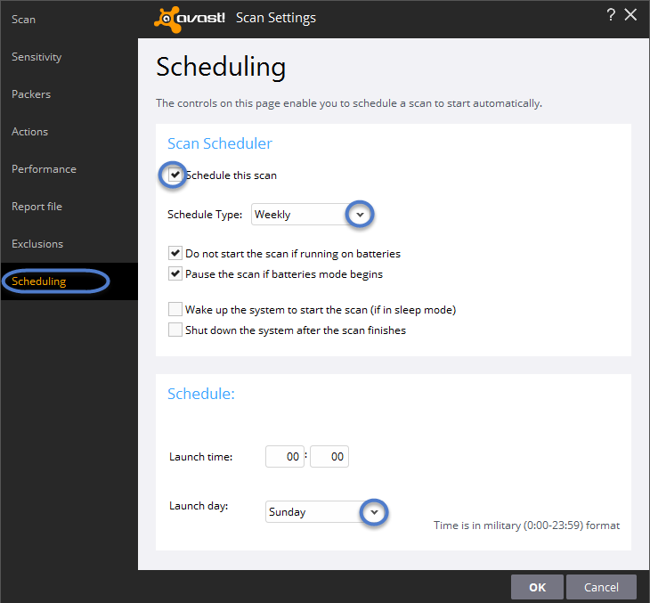 how to schedule a scan in avast