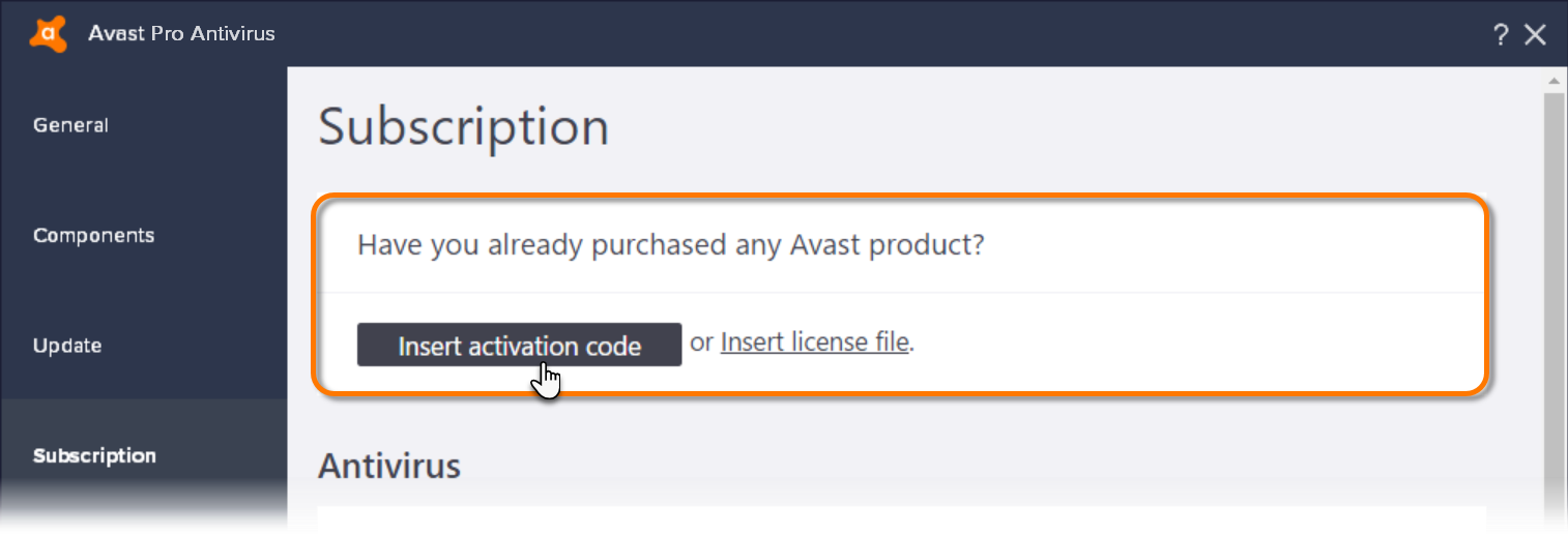 how to insert activation code in avast