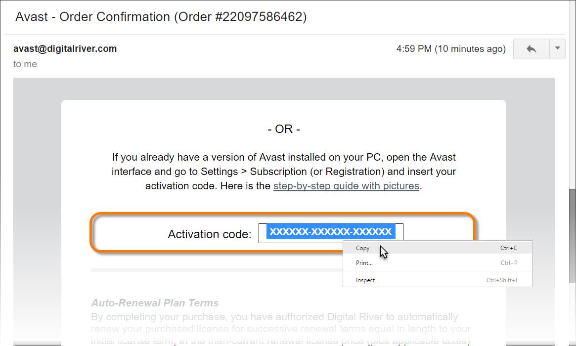 antivirus activation code