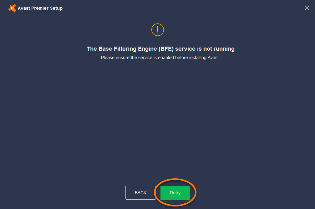 Troubleshooting 'The Base Filtering Engine (BFE) service is not