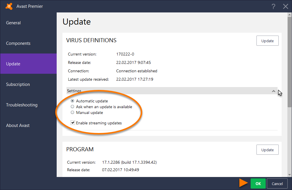 Virus Definitions won t update on Avast Internet Security