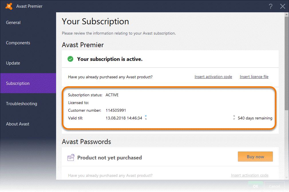 avast verification code