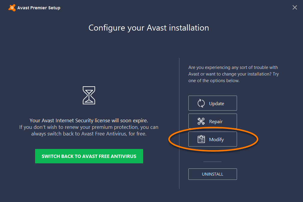 Adding or removing Avast Antivirus program components | Official