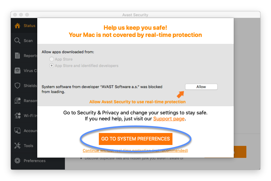Allowing Avast Software extensions for Avast Security on macOS 10 13