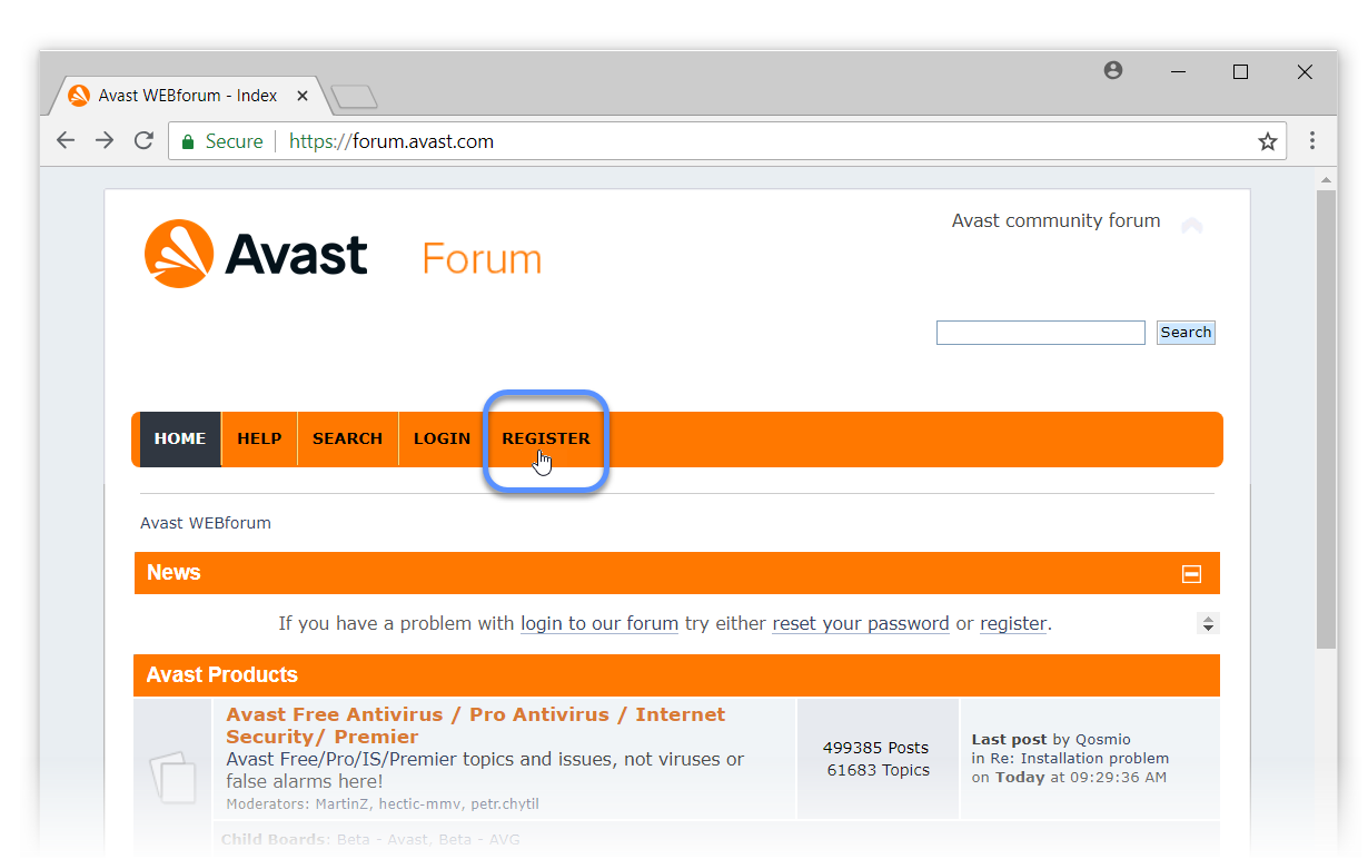 avast home free registration