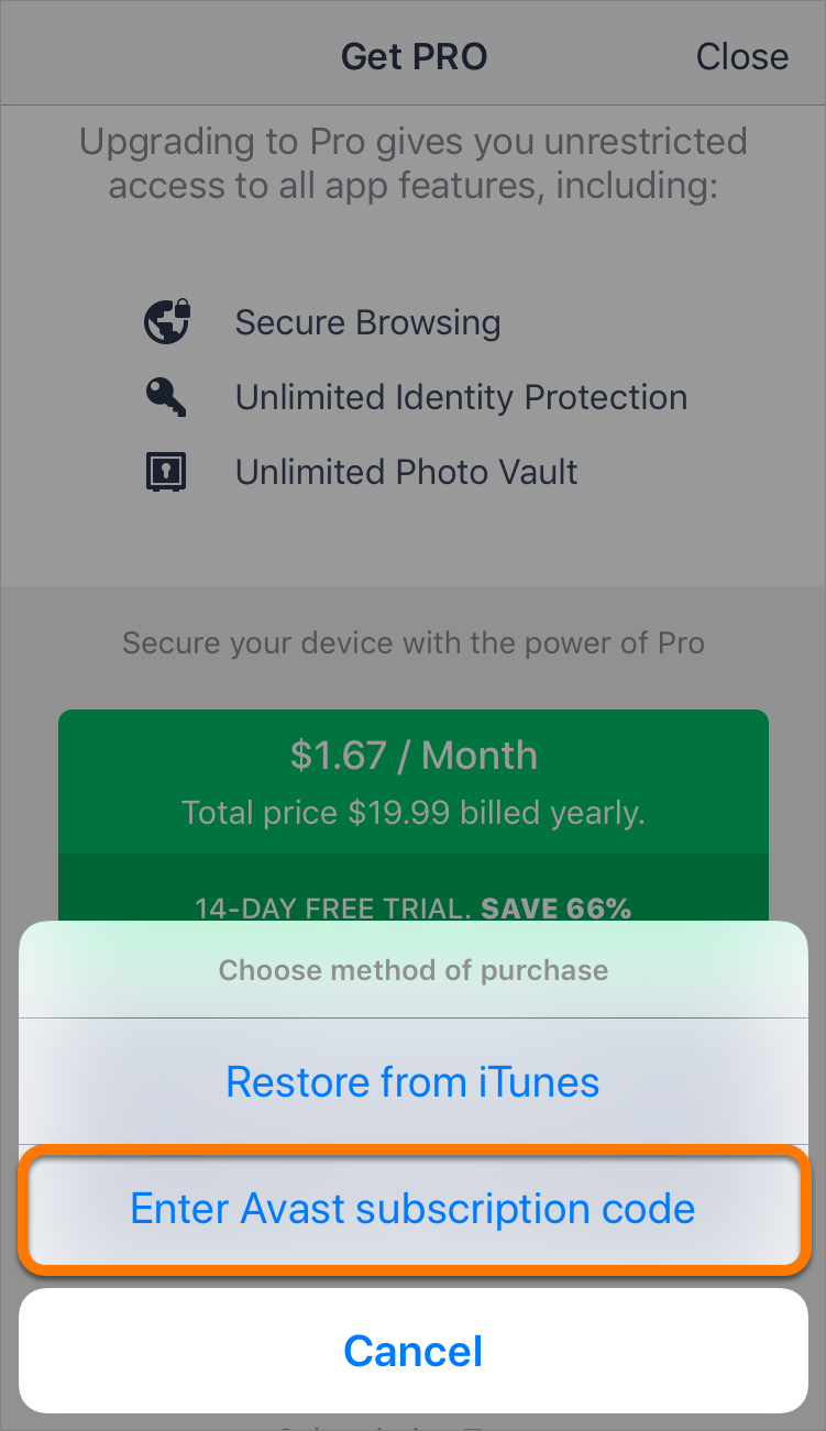 Activating a paid version of Avast Mobile Security on iOS