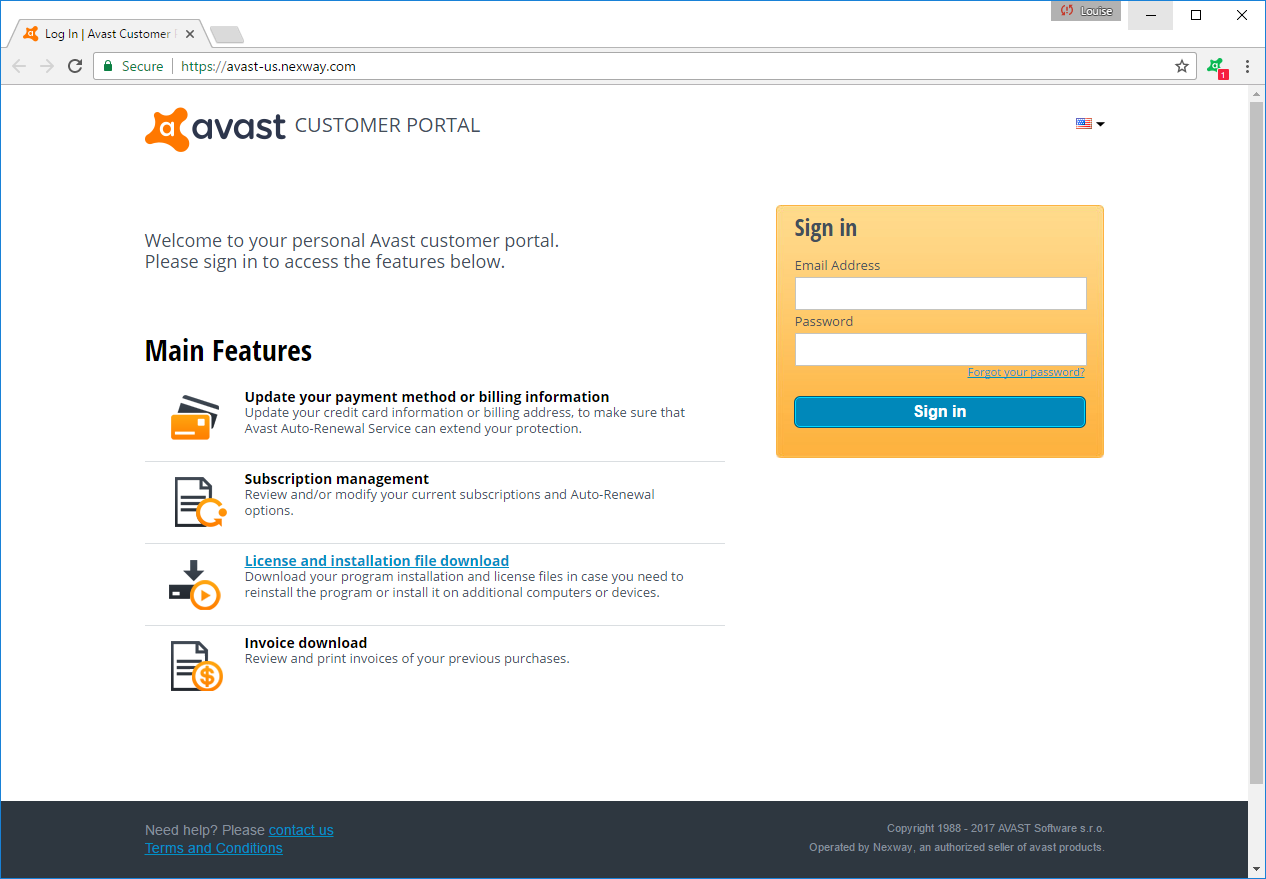 avast wont sign in