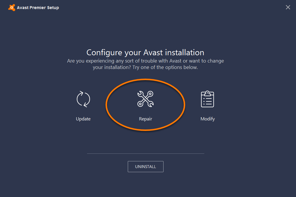 avast stuck scanning