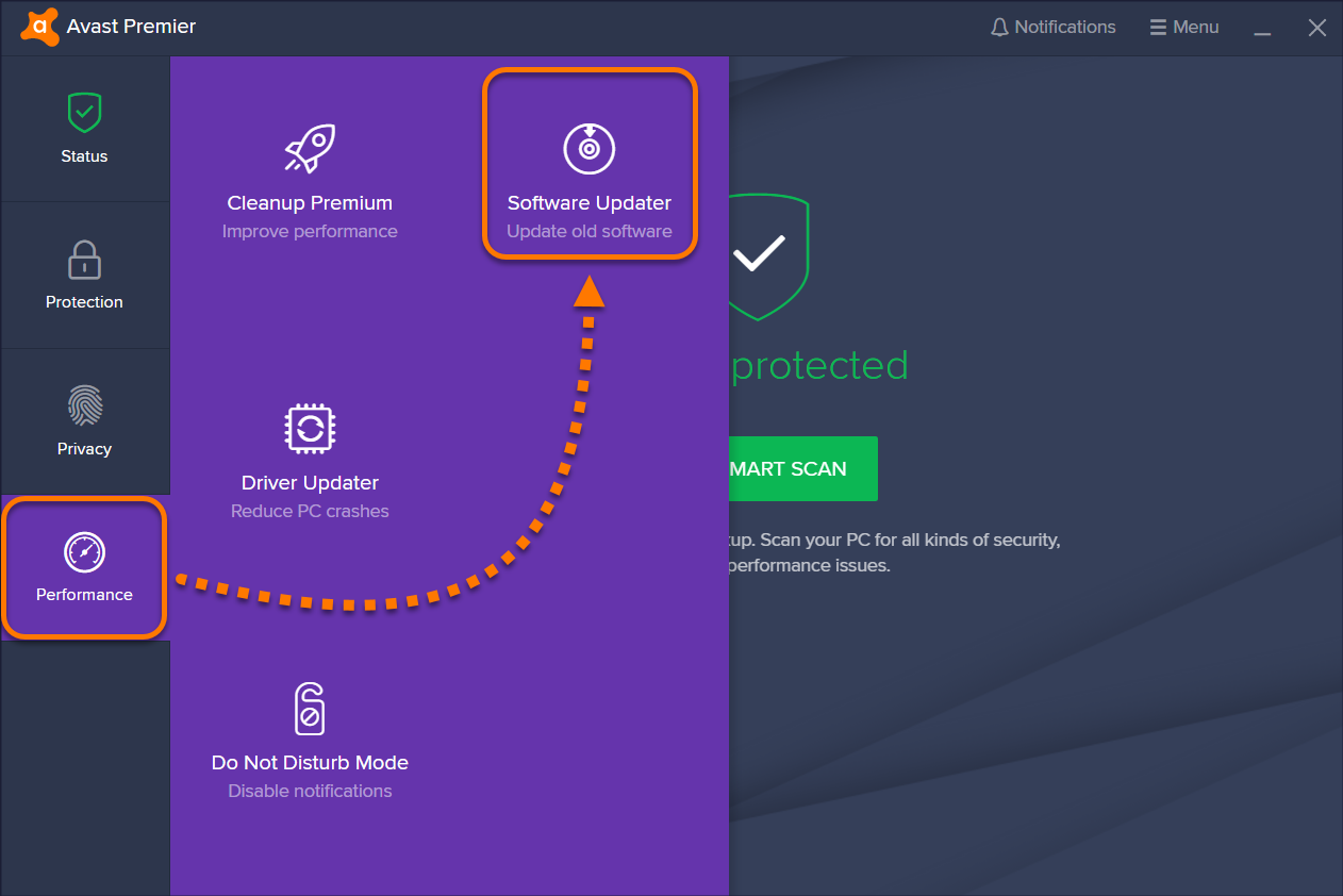 how to remove avast software updater