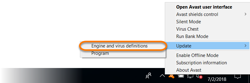 Updating virus definitions and avast antivirus application version.
