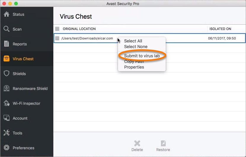 avast virus chest mac