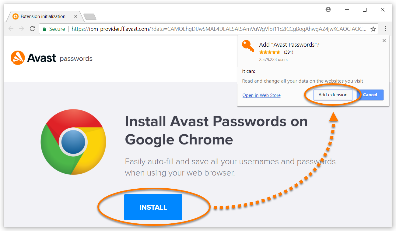 avast password key