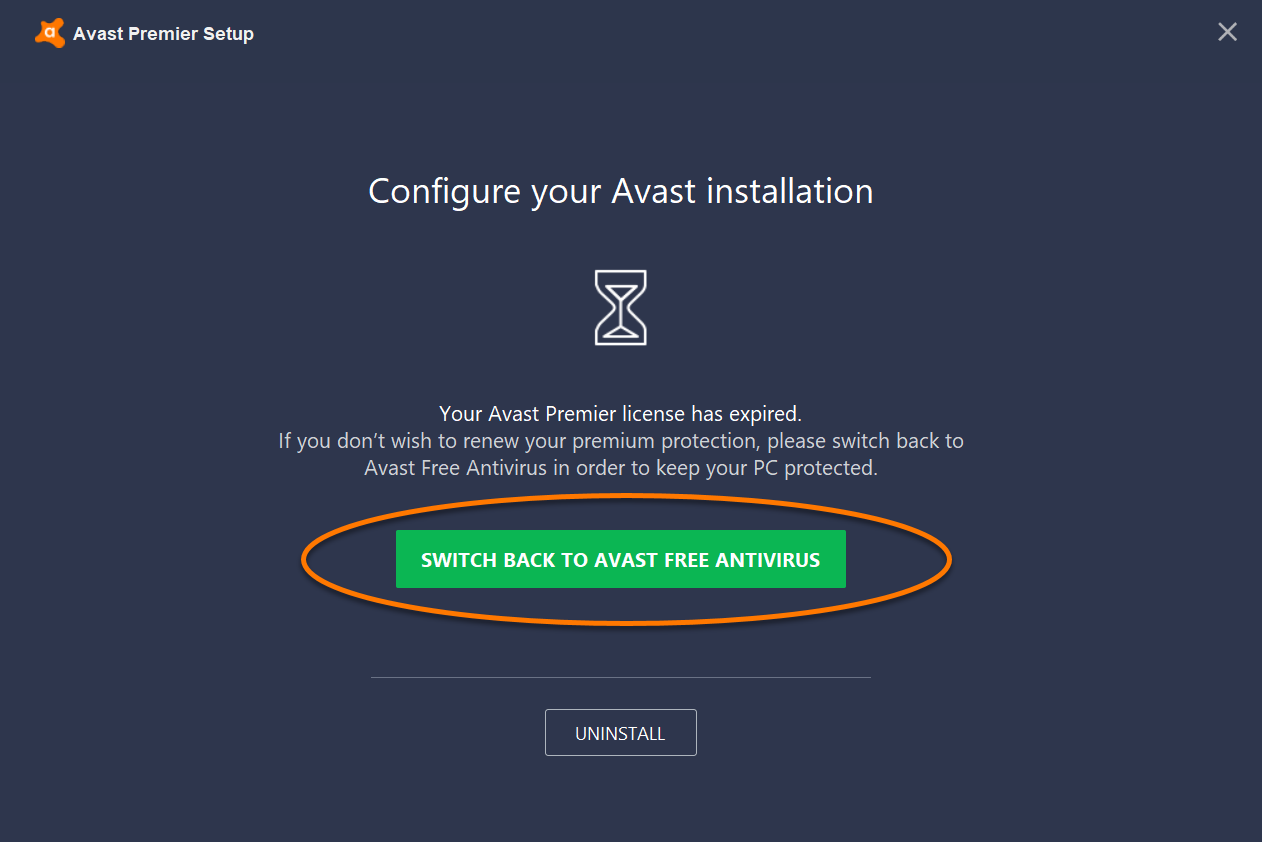 When the Avast Setup wizard appears, click Switch back to Avast Free  Antivirus.