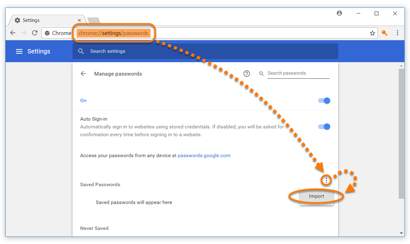 Exporting Avast Passwords data to Google Chrome | Official