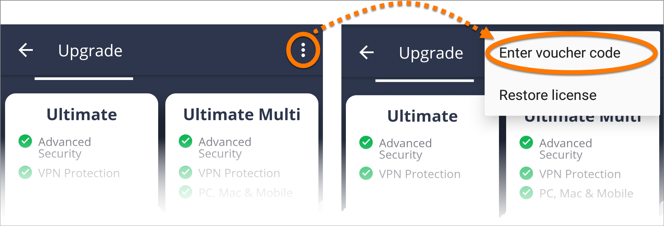 avast mobile security code