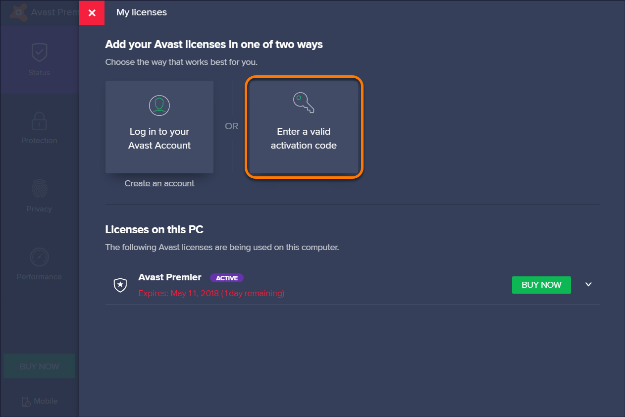 how to use avast activation code