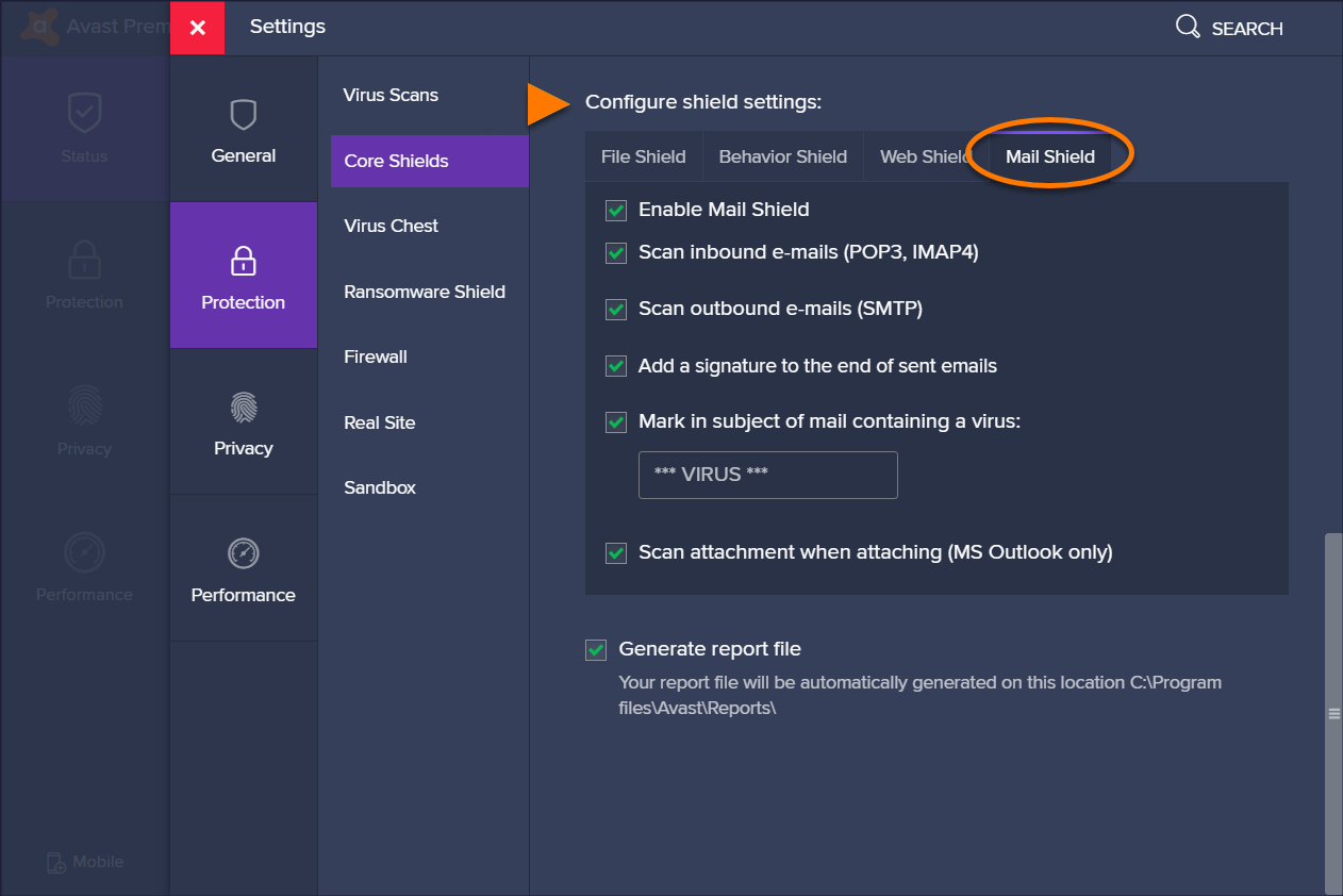 exceptions in avast