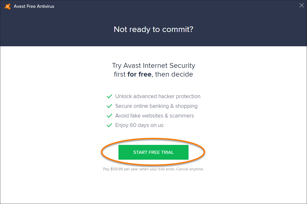 Upgrading from Avast Free Antivirus to a trial version of Avast