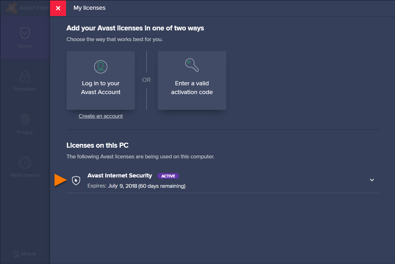 Upgrading from Avast Free Antivirus to a trial version of