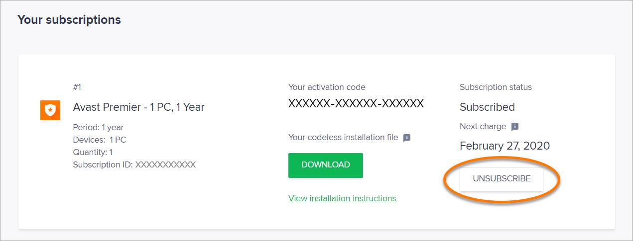how do i cancel my avast vpn subscription