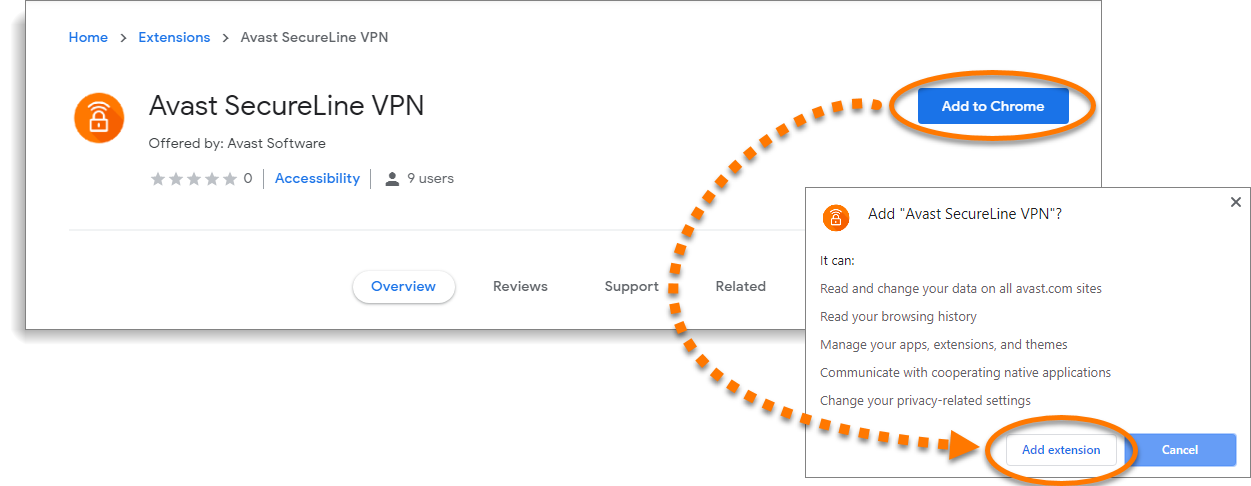 Installing the Avast SecureLine VPN browser extension on Windows and