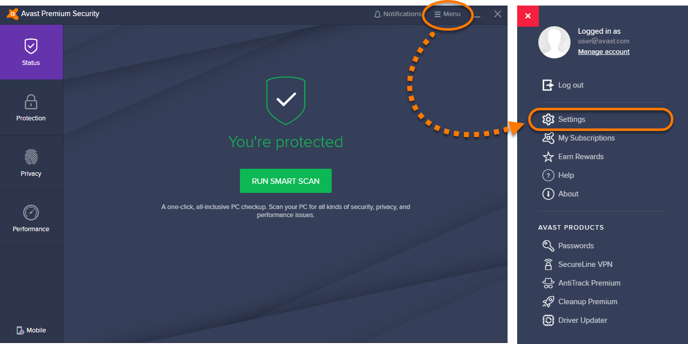 Excluding certain files or websites from scanning in Avast