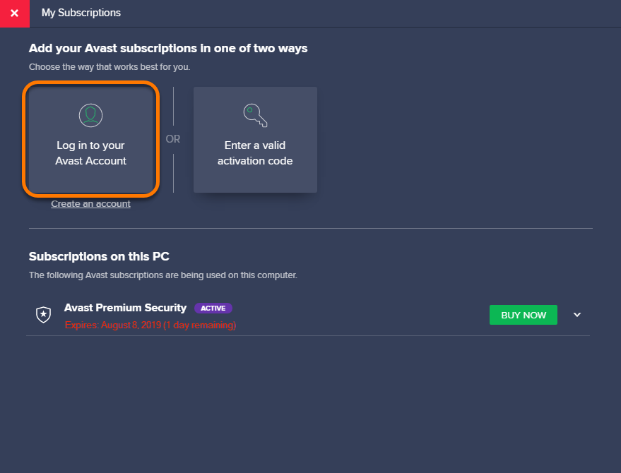 Connecting an Avast product with your Avast Account