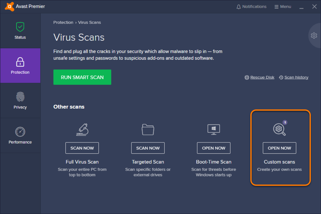 what is boot time scan in avast