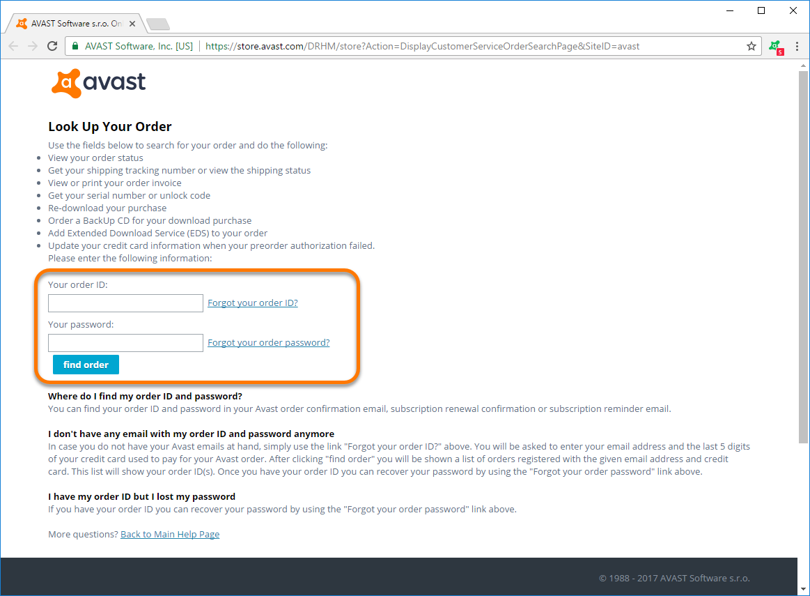 Updating your payment information for Avast orders