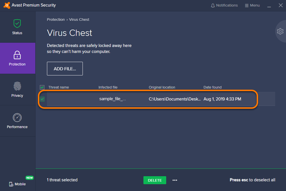 Using the Virus Chest in Avast Antivirus | Official Avast