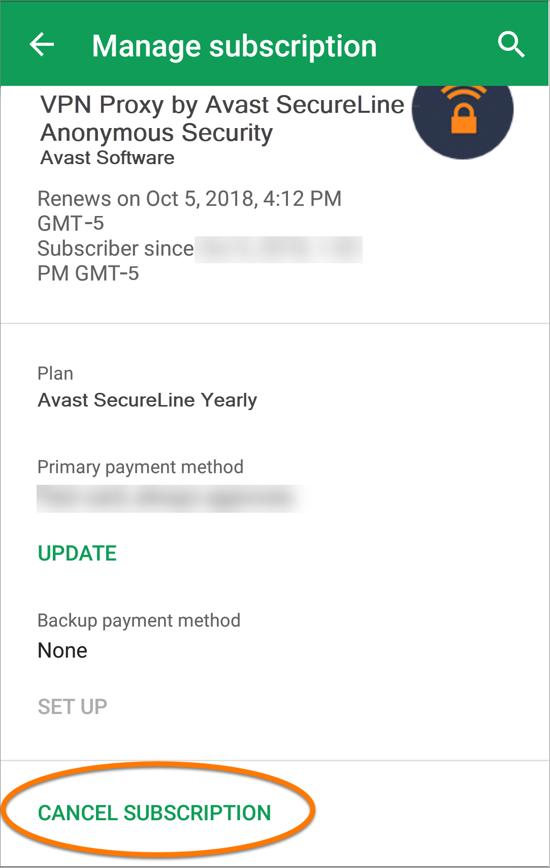 avast subscription status - cancelled