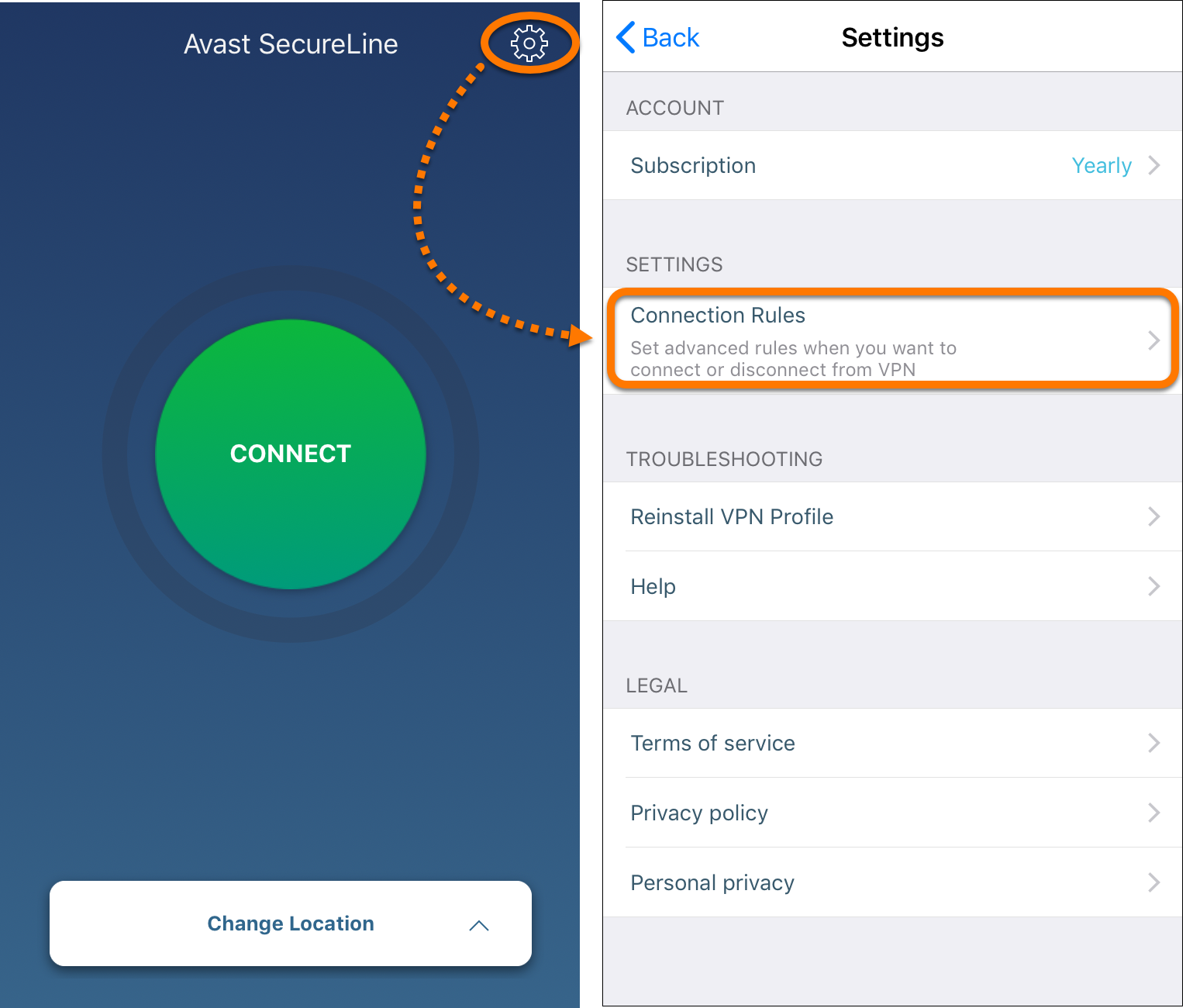 Automatically enabling Avast SecureLine VPN when connected