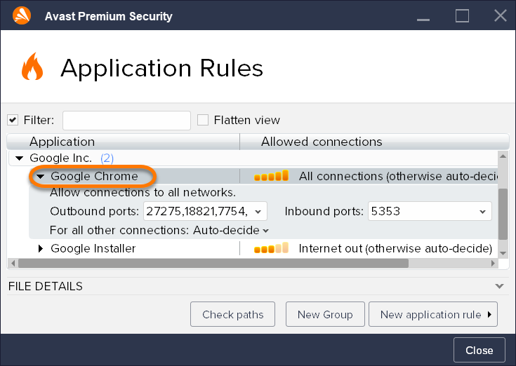 Setting up Firewall Application Rules in Avast Antivirus
