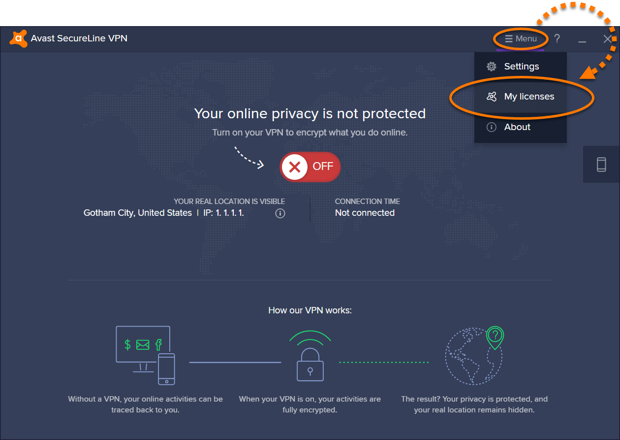 the secureline vpn server has refused your license file avast