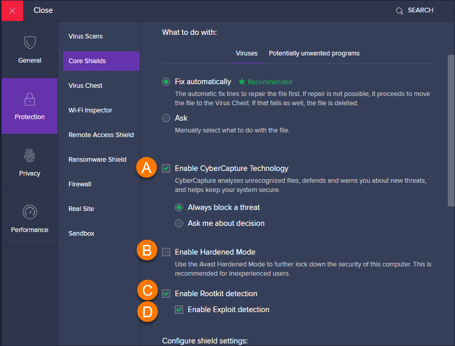 Adjusting Settings For Avast Antivirus Core Shields Official Avast Support
